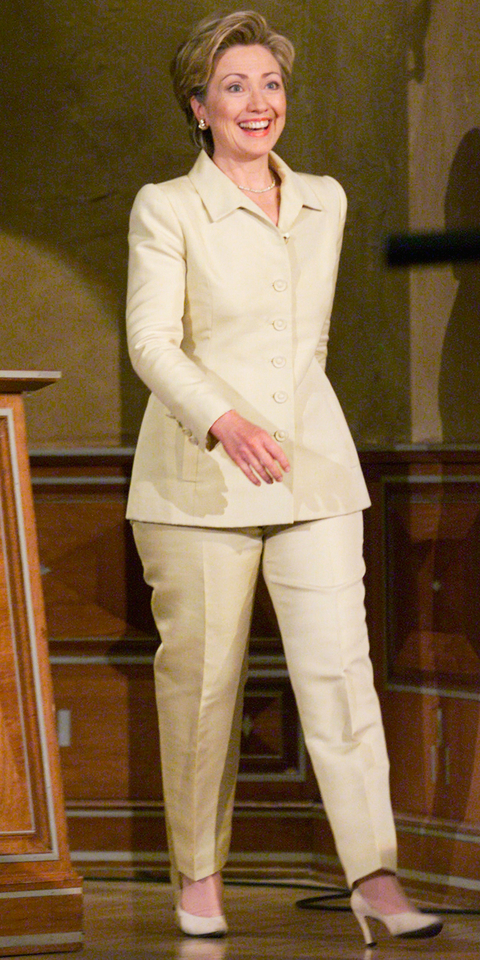 THE TONIGHT SHOW WITH JAY LENO -- Episode 1891 -- Pictured: Former First Lady Hillary Clinton enters on August 11, 2000 -- (Photo by: Paul Drinkwater/NBC/NBCU Photo Bank via Getty Images)