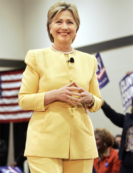 Greenville, UNITED STATES: Democratic presidential hopeful US Sen. Hillary Rodham Clinton (D-NY) speaks at a town hall meeting, 27 April 2007, at Allen Temple A.M.E. Church in Greenville, South Carolina. AFP PHOTO/Stan HONDA (Photo credit should read STAN HONDA/AFP/Getty Images)