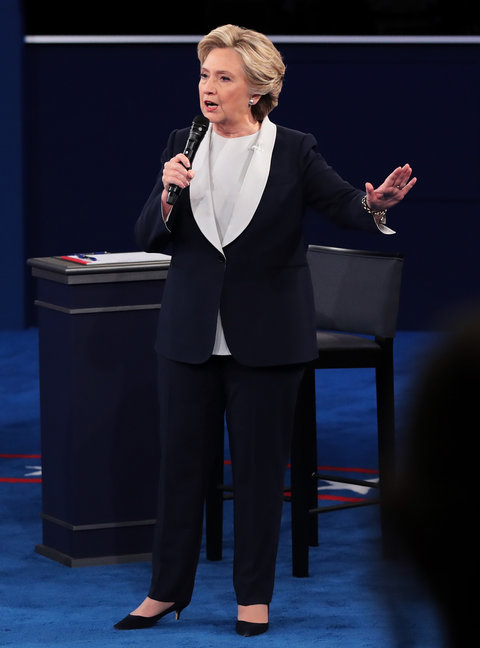 ST LOUIS, MO - OCTOBER 09: Democratic presidential nominee former Secretary of State Hillary Clinton responds to a question during the town hall debate at Washington University on October 9, 2016 in St Louis, Missouri. This is the second of three presidential debates scheduled prior to the November 8th election. (Photo by Scott Olson/Getty Images)