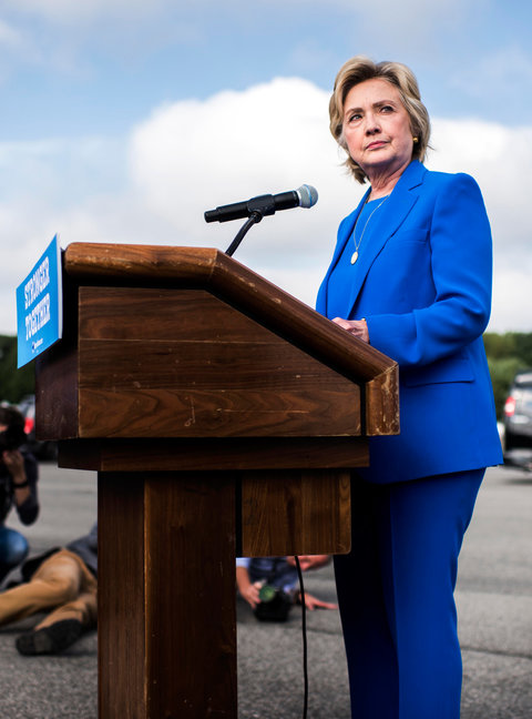 WHITE PLAINS, NY - Democratic Nominee for President of the United States former Secretary of State Hillary Clinton speaks to the Press Corp on the airport tarmac in front of her campaign plane before flying off on a day of campaigning in White Plains, New York on Thursday September 8, 2016. (Photo by Melina Mara/The Washington Post via Getty Images)