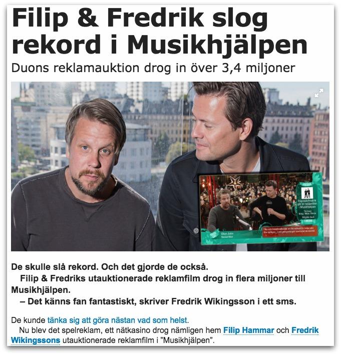 Casumo vann Filip och Fredriks auktion i Musikhjälpen 2016 - Casumobloggen