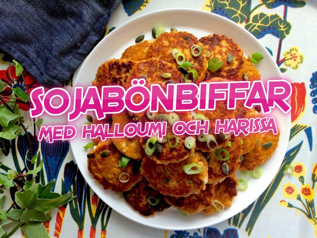 Sojabönbiffar med halloumi och harissa