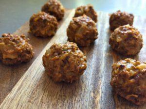 Pulled oats-köttbullarna i ostekt tillstånd