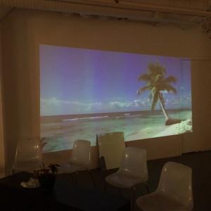 Vi försökte skapa lite solsemesterkänsla i rummet där läsningen skulle vara. Det här är en tre timmar lång film på en strand, mycket lugnande för själen.